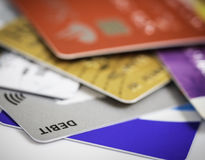 Pile of credit cards debt, loan or purchase concept Stock Photos