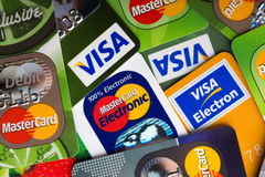 Pile of credit cards, Visa and MasterCard, credit, debit Royalty Free Stock Photos
