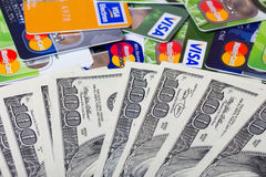 Pile of credit cards, Visa and MasterCard Stock Photos