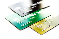 Pile of credit cards on white background Royalty Free Stock Image