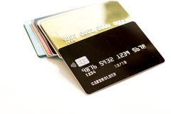 Pile of credit cards on white background Royalty Free Stock Photography