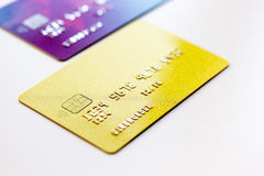 Pile of credit cards on white background Stock Photos