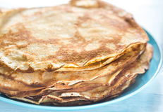 Pile of crepes on the plate. Close up Royalty Free Stock Photo