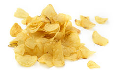Pile of crisps. Close up of a pile of crisps on white background royalty free stock photography
