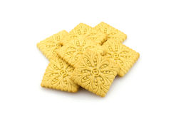 Pile of crispy biscuits, isolated Stock Images