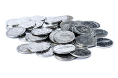 Pile of Croatian coins. Closeup shot of Croatian metal coins. Mostly coins worth two Kunas Royalty Free Stock Photo