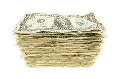 Pile of Crumpled Dollar Bills. Isolated on a White Background royalty free stock photography