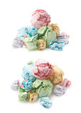 Pile of crumpled paper balls isolated Royalty Free Stock Image