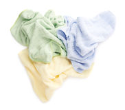 Pile of crumpled rags over white isolated background Royalty Free Stock Image
