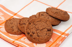 Pile of crunchy chocolate cookies Stock Image