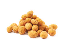 Pile of crunchy coated nuts isolated Royalty Free Stock Image