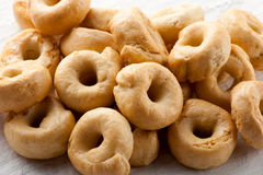 Pile of crunchy Italian taralli crackers stock images