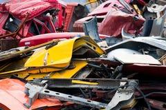 Pile of crushed cars. Stacks of crushed cars at junkyard Royalty Free Stock Image
