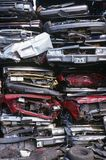 Pile of crushed cars in junkyard full frame Stock Images