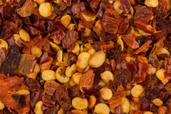 Pile of a crushed red pepper Stock Photos