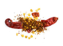 Pile crushed red pepper, dried chili flakes and seeds Stock Images