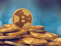A pile of cryptocurrency - bitcoins Stock Photo