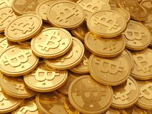 A pile of cryptocurrency - bitcoins Stock Image