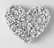 Pile of cubes forming heart, 3d style vector illustration. Suitable for any banner, ad, technology and abstract themes Royalty Free Stock Photography