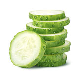 Pile of cucumber slices  on white Royalty Free Stock Photography