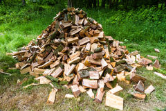 Pile of cut logs for burning Royalty Free Stock Photography