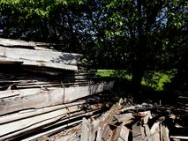Pile of cut oak planks. In countryside with trees in background Royalty Free Stock Photography