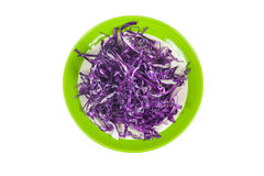 Pile of cut red cabbage on white background Stock Photo
