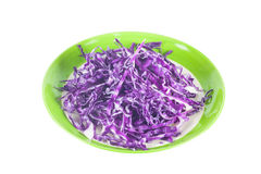 Pile of cut red cabbage on white background Stock Photography