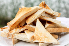 Pile of cut white toast. Royalty Free Stock Photo