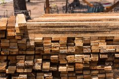 Pile of cut wood for construction & x28; texture, background, pattern. & x29;.Thailand royalty free stock photos