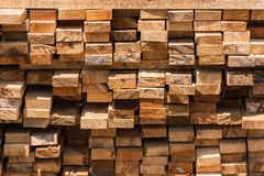 Pile of cut wood for construction & x28; texture, background, pattern. & x29;.Thailand royalty free stock photo