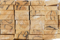 Pile of cut wood for construction texture Royalty Free Stock Photos