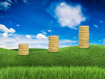 Pile d'élevage de pièces d'or Photos libres de droits