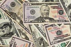 Pile d'argent $50 billets d'un dollar Image libre de droits