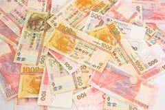 Pile d'argent comptant du dollar de Hong Kong Images libres de droits