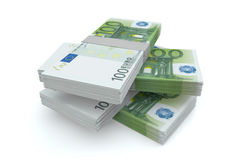 Pile d'argent de 100 euro Image libre de droits