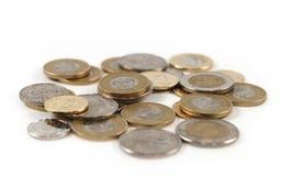 Pile d'argent de pièce de monnaie d'isolement Photo stock