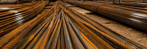 Pile d'armature de constructions, renfort, clouseup de montages Photo stock