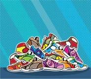 Pile d'art de bruit de vecteur de chaussures Photo stock