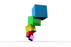 Pile of 3d colourful cubes. On white background Royalty Free Stock Photos