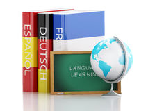 pile 3d de dictionnaires Connaissance des langues Photo stock