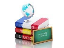 pile 3d de dictionnaires Connaissance des langues Images stock