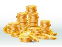 Pile d'or de pièces de monnaie Dollar de pièce d'or, pile d'argent et illustration réaliste de vecteur de tas d'argent liquide d' illustration libre de droits