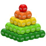 Discount Pyramid Concept 10 to 70. Pile of 3d discount cubes raging from 10 to 70 forming pyramid. Sale promotional concept Stock Images