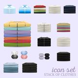 Pile d'ensemble d'icône de vecteur de vêtements illustration de vecteur