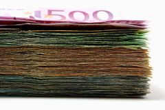 Pile d'euro billets de banque utilisés photographie stock