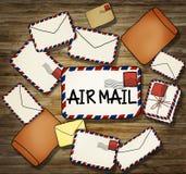 Pile d'illustration de lettre et d'enveloppe Image stock