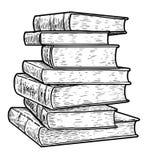 Pile d'illustration de livres, dessin, gravure, encre, schéma, vecteur illustration stock