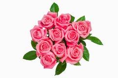 Pile d'isolat de fleurs de rose de rose sur le blanc Images libres de droits