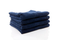 Pile of dark blue towels Royalty Free Stock Photo